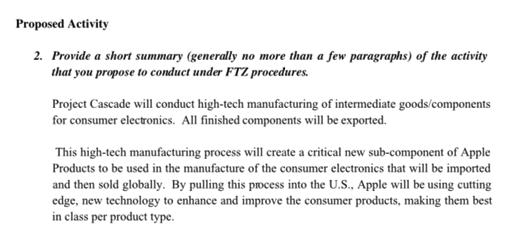 In de bijlage van de brief wordt in globale termen de activiteiten van de fabriek omschreven.