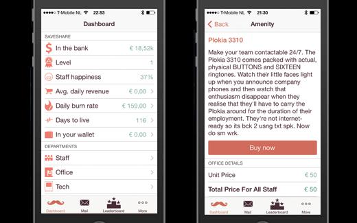 In een minimalistisch iOS 7 design navigeer je via lijsten door de verschillende facetten van je bedrijf.