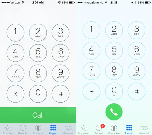 iOS 7.1 beta 2 (links) en iOS 7.1 beta 3 (rechts)