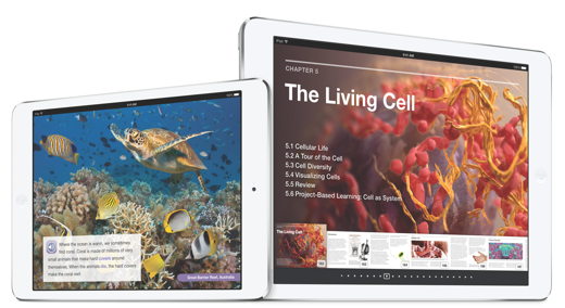 Voorbeelden van interactieve iPad-studieboeken.