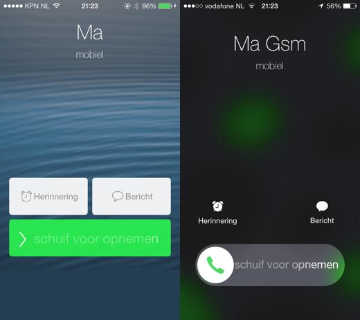 iOS 7.1 beta 2 (links, op iPhone 4) en iOS 7.1 beta 3 (rechts)