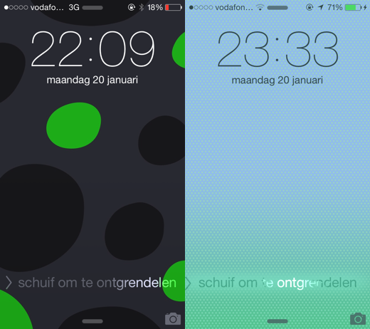 iOS 7.1 beta 3 (links) / iOS 7.1 beta 4 (rechts)