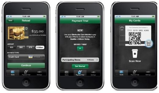 De Starbucks-app maakt gebruik van barcodes voor betalingen.