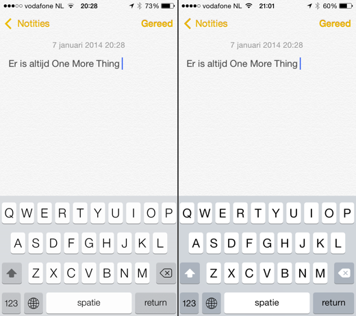 iOS 7.1 beta 2 (links) en iOS 7.1 beta 3 (rechts).