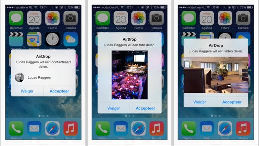 Met AirDrop kun je contacten, foto's, video's en veel andere informatie delen.