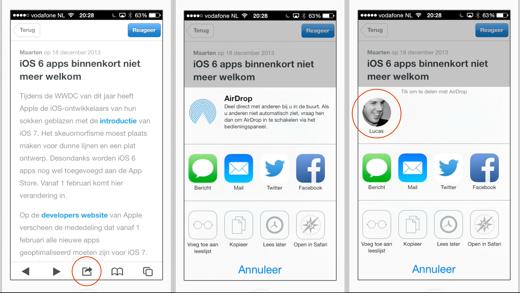 Ook in de OMT App kun je artikelen delen via AirDrop
