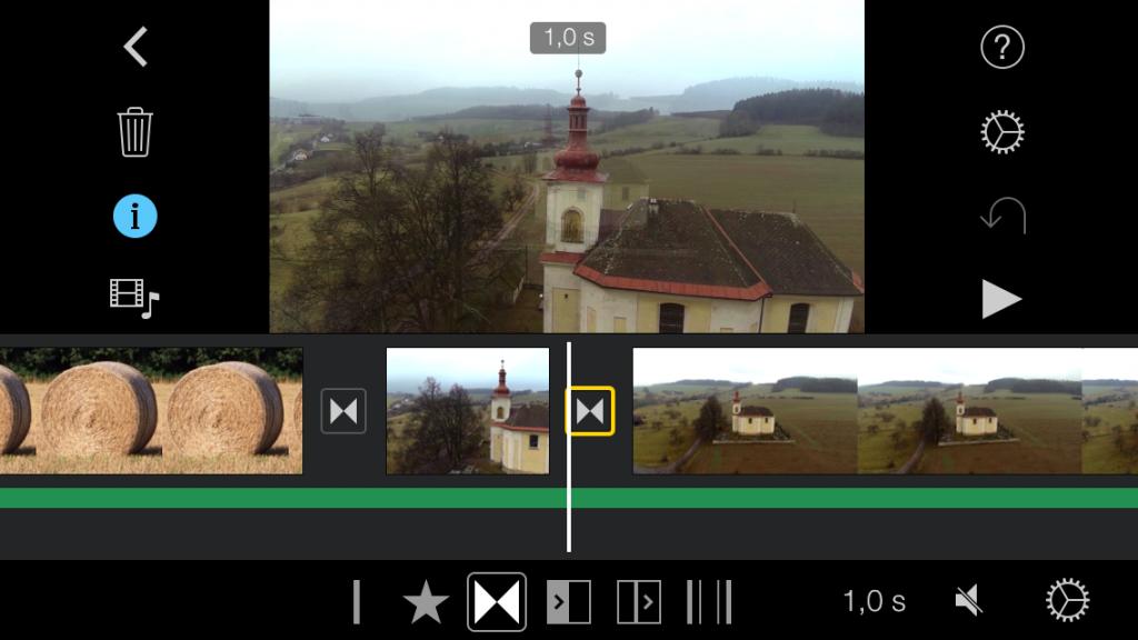 iMovie zet zelf overgangen tussen je fragmenten, twee keer klikken en je kunt een overgang aanpassen