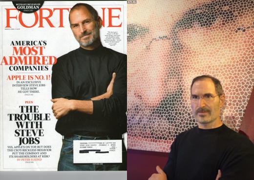 De cover van Fortune Magazine en het wassenbeeld van Jobs.
