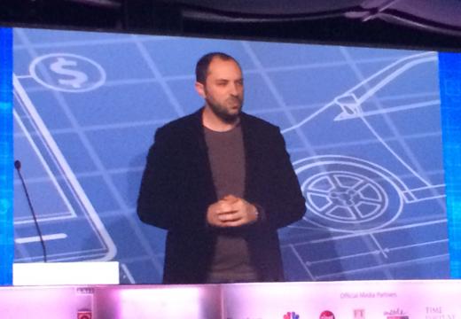 Jan Koum, de CEO van WhatsApp tijdens MWC 2014.