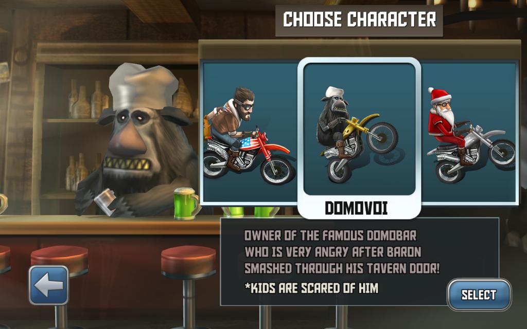 Selecteer je karakter en stap op de fiets.