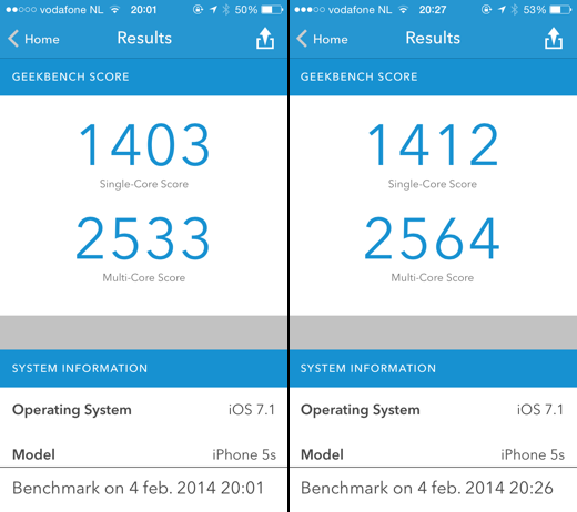 Geekbench-score iPhone 5s op iOS 7.1 beta 4 (links) en iOS 7.1 beta 5 (rechts).