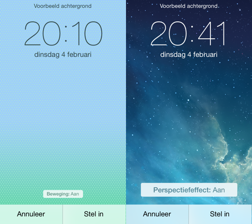 iOS 7.1 beta 4 (links) en iOS 7.1 beta 5 (rechts).