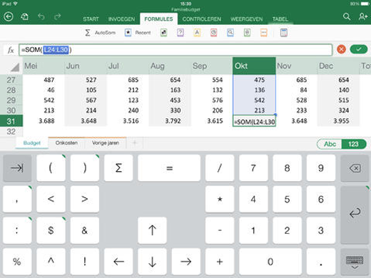 Een speciaal toetsenbord in Excel voor de iPad.