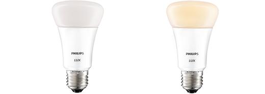 De hue Lux kan wit licht in verschillende tinten weergeven.