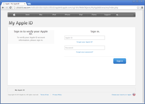 Fake Apple ID login op EA.com.