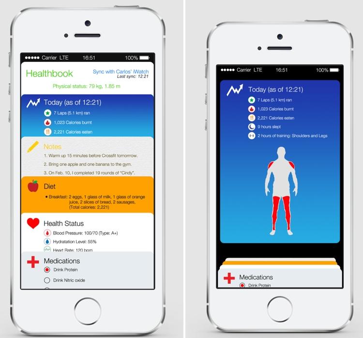 Concept van de Healtbook-app in iOS 8.