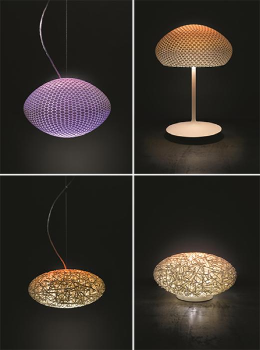 Designer lampen in de hue-familie.