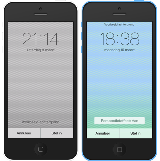 iOS 7.0.6 (links) en iOS 7.1 (rechts).