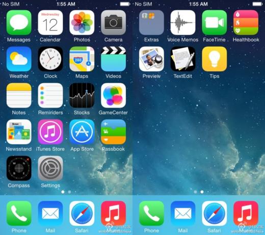 De vermeende iOS 8-screenshots.