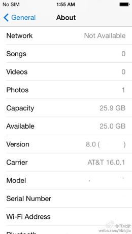 Settings scherm dat iOS 8.0 toont.