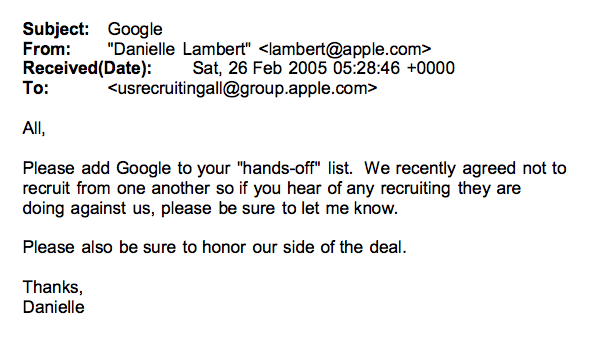 Google en Apple sluiten nog dezelfde maand een 'do not hire' overeenkomst.