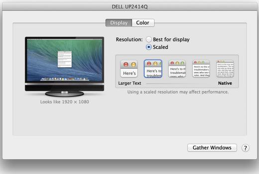 Optie voor 4K Retina in OS X 10.9.3 beta 1.