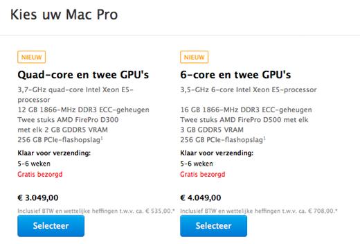 Levertijd Mac Pro nu 5 tot 6 weken.