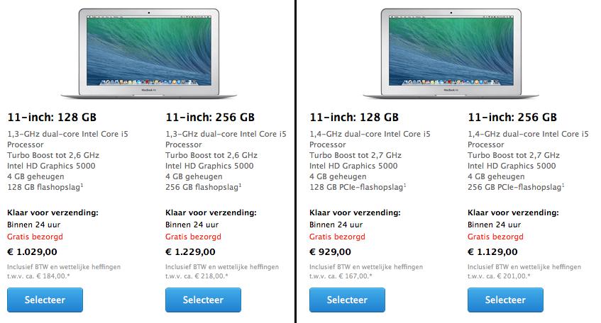 Vergelijking 11-inch MacBook Air: Oud (links) / Nieuw (rechts).