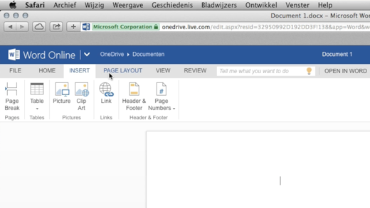 Of gebruik de Office-programma's in je webbrowser