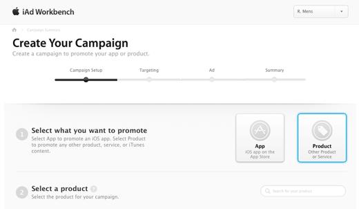 Creëren van een campagne via de iAd workbench.