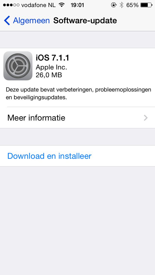 iOS 7.1.1 is nu beschikbaar.