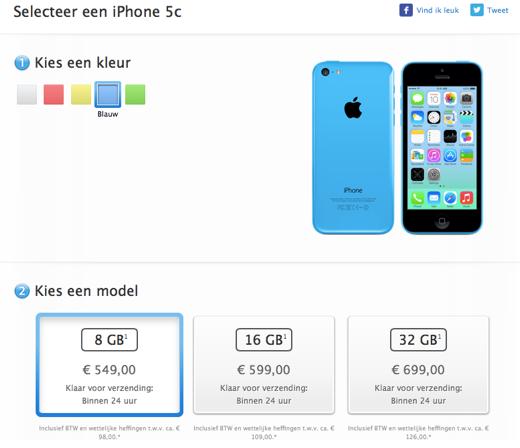 De iPhone 5C 8GB is nu ook in Nederland verkrijgbaar.