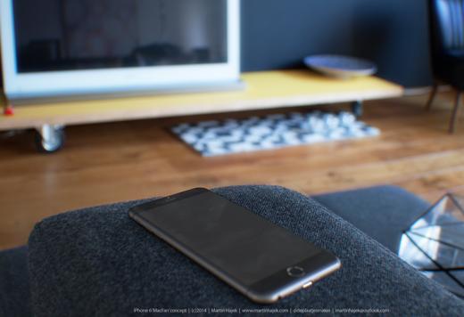 De gerenderde iPhone 6 is platter, ronder en groter dan de iPhone 5s.