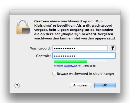 Zorg dat je je wachtwoord niet opslaat in je sleutelhanger