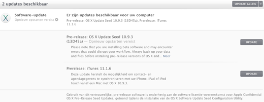 De betaversies komen als reguliere updates via de Mac App Store binnen.