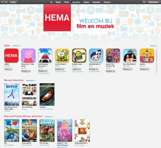 Het aanbod in de iTunes-sectie van HEMA.