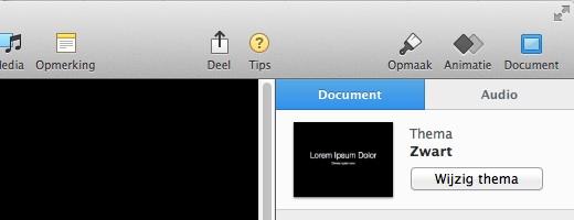 De belangrijkste tools vind je onder Opmaak, Animatie en Document