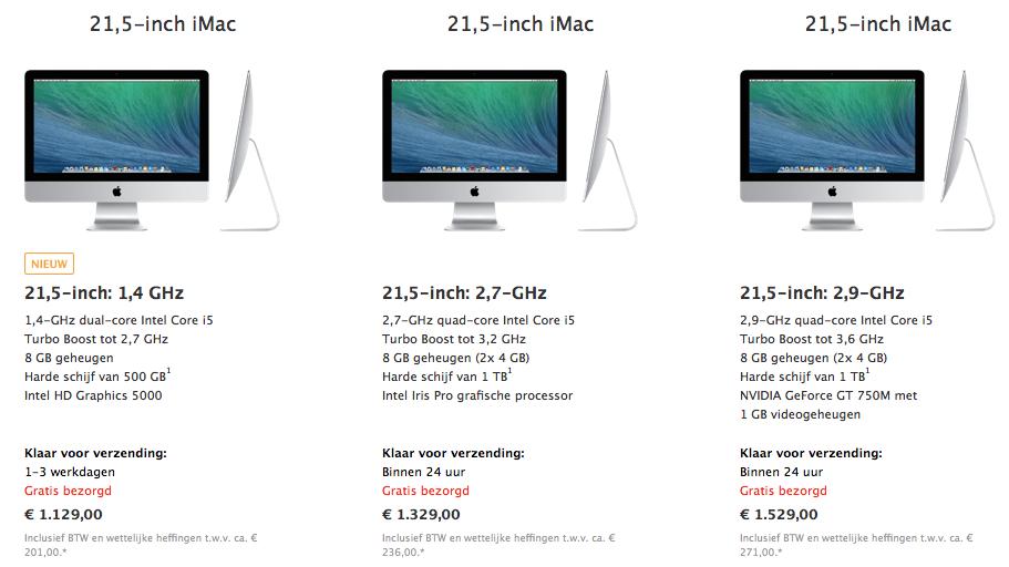 Er is een goedkopere iMac aan het assortiment toegevoegd.