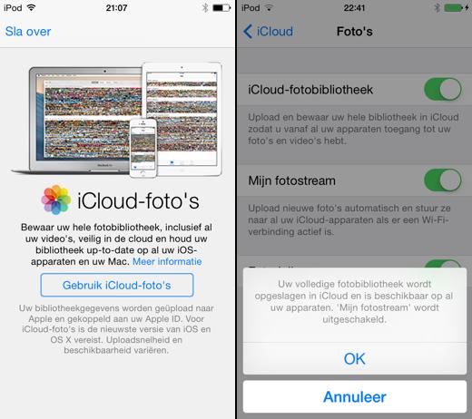 iCloud-foto's is nu te activeren.