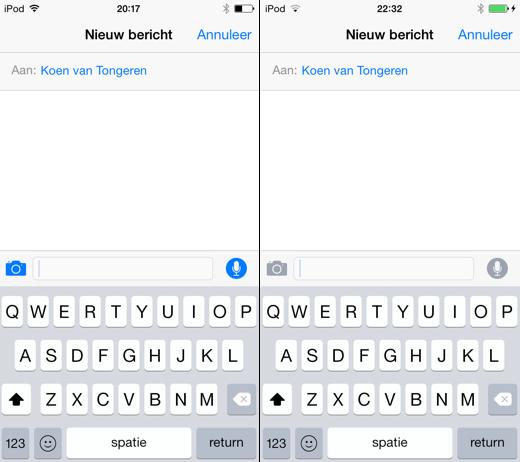 iOS 8 beta 1 (links) en iOS 8 beta 2 (rechts).