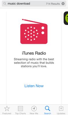 iTunes Radio bij zoeken naar 'music downloads'.