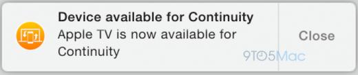 De Apple TV lijkt beschikbaar voor continuity. Bron: 9to5Mac