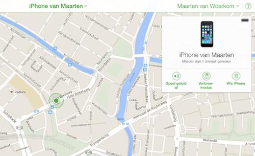 Via iCloud.com is het mogelijk een iPhone te traceren.