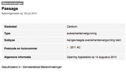 De aankondiging is gepubliceerd op de website van de gemeente Den Haag