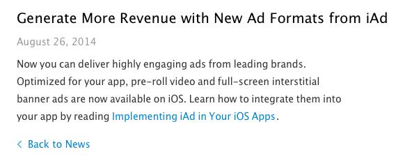 Met een klein bericht introduceerde Apple de nieuwe iAd-formaten