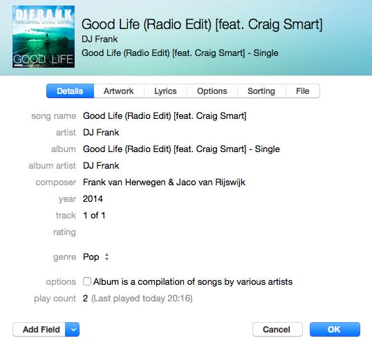Nieuw ontworpen infovenster in iTunes 12.