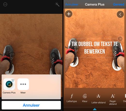 Vanuit de Foto's app de tools van Camera Plus aanspreken