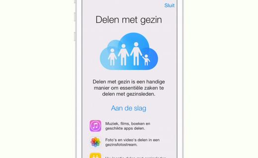 Family sharing kun je vinden in de iCloud-instellingen.