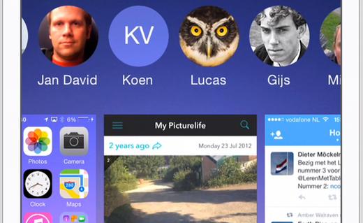De contacten verschijnen bovenin het multitaskscherm.