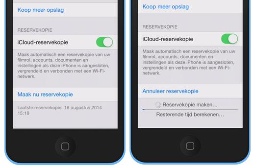 Maak een iCloud-reservekopie